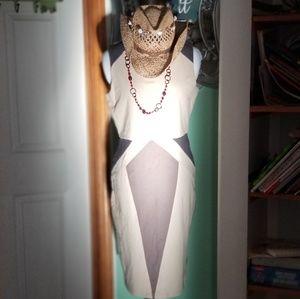 SYNERGY Organic Geometric Body-Con Dress sz M